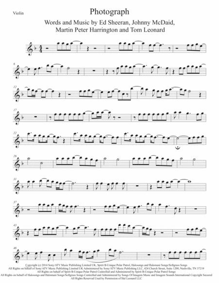 Download Photograph Violin Sheet Music By Ed Sheeran