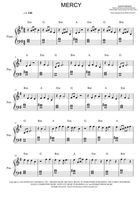 Download Shawn Mendes - Mercy (easy Piano) Sheet Music By