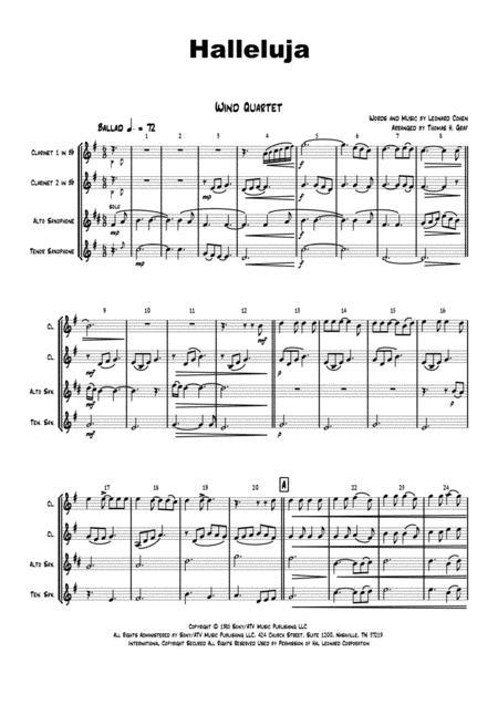 Halleluja - sophisticated arrangement of Cohen's Classic - Wind Quartet