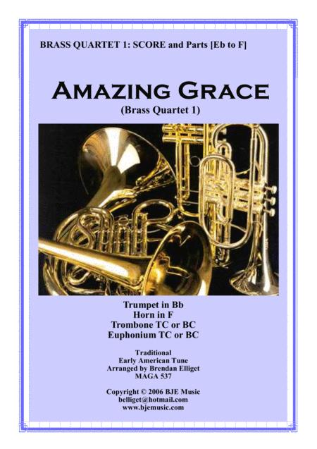 Amazing Grace - Brass Quartet No. 1 PDF Score and Parts PDF
