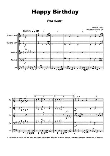 Happy Birthday Stevie Wonder Classic Brass Quintet By Stevie Wonder Digital Sheet Music For Score Set Of Parts Download Print H0 444555 Sc000002946 Sheet Music Plus