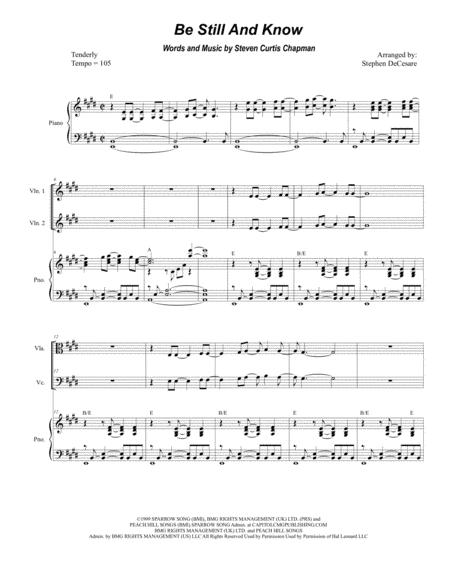Be Still And Know (for String Quartet and Piano)