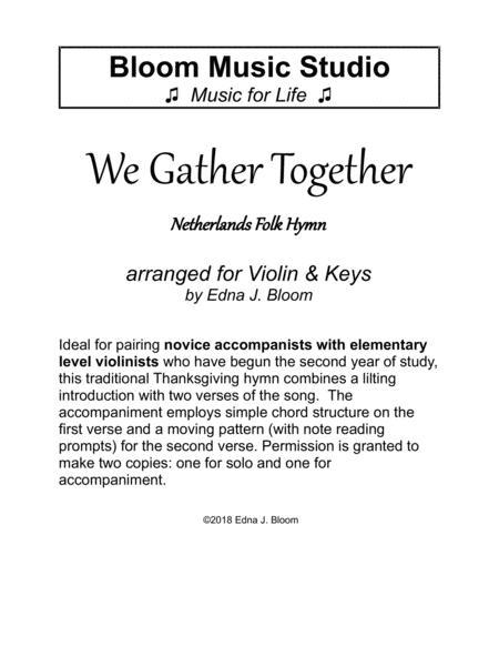 We Gather Together Violin & Keys Thanksgiving Duet