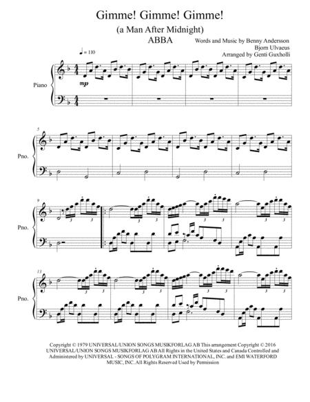 Gimme! Gimme! Gimme! (a Man After Midnight) (Piano Solo)