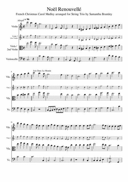 French Christmas Carol Medley for String Trio - Noëls Français en Pot Pourri pour Trio à Cordes