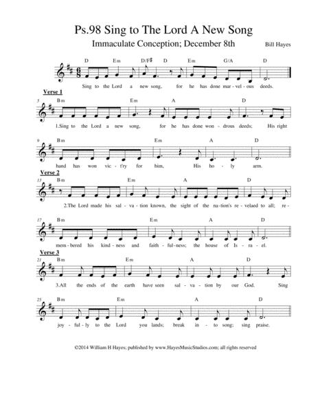 Psalm 98:  Sing To The Lord A New Song