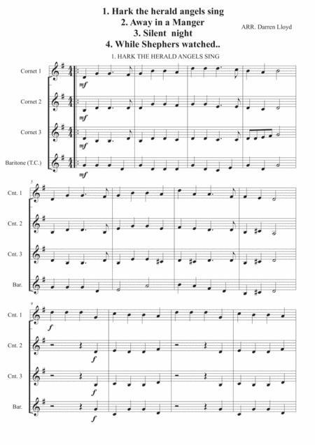 Easy Christmas carol selection - For Brass quartet.