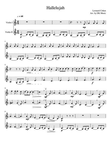 hallelujah - violin duet (2 violins) by leonard cohen - digital sheet music  for sheet music single - download & print h0.446895-34102   sheet music plus  sheet music plus