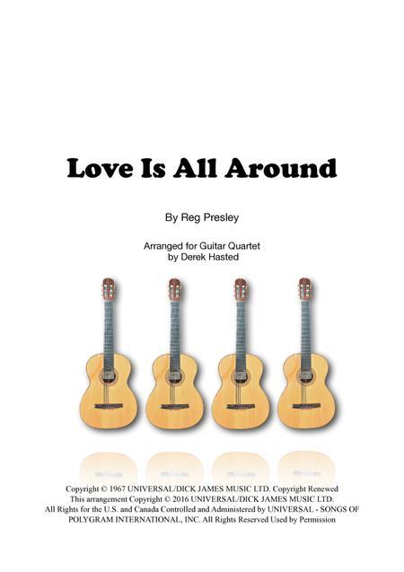 Love Is All Around for guitar quartet