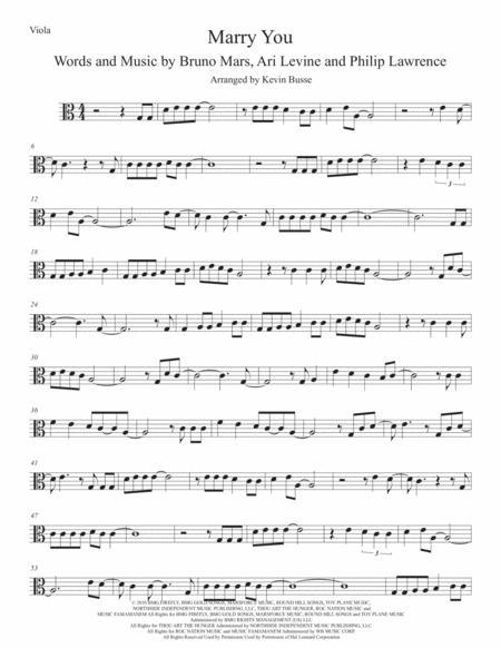 Marry You (Easy key of C) Viola