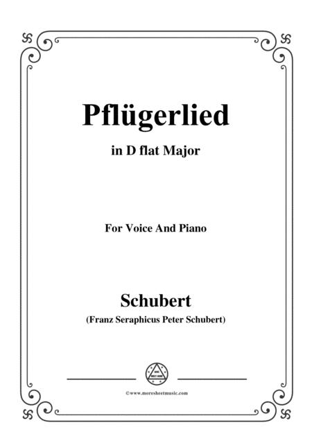 Schubert-Pflügerlied in D flat Major,for voice and piano