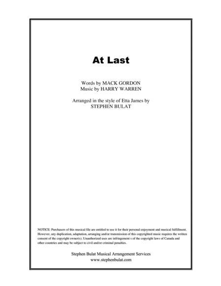 At Last (Etta James) - Lead sheet (key of Eb)