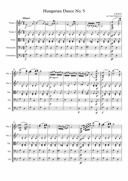 Brahms Hungarian Dance No. 5 for String orchestra