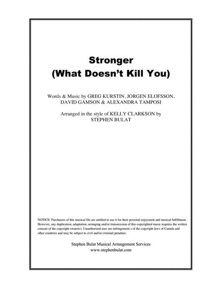 Stronger (What Doesn't Kill You) - Lead sheet in original key of Am