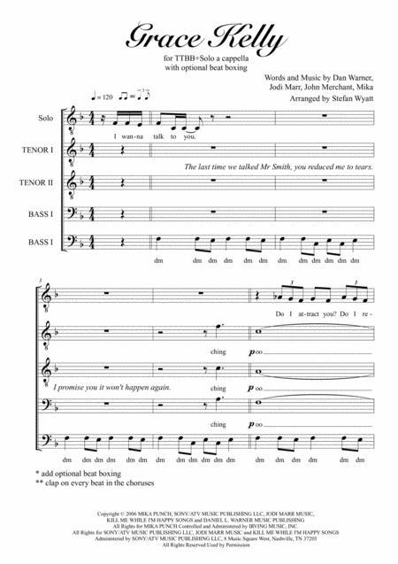Grace Kelly for TTBB+Solo a cappella