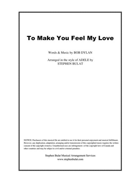To Make You Feel My Love (Bob Dylan/Adele) - Lead sheet (key of G)
