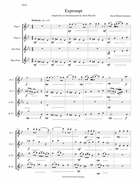 Exprompt - an Armenian song of farewell - arranged for flute quartet