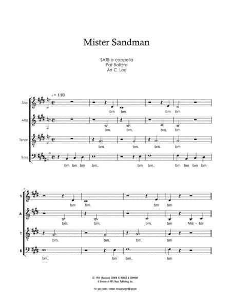 Mister Sandman For SATB SATB Sheet Music Vocal Score