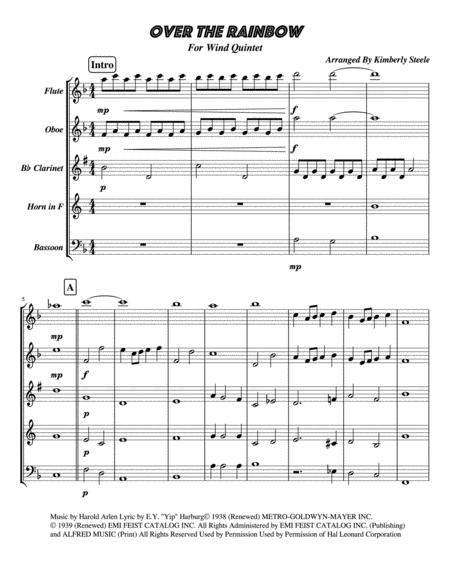 Over The Rainbow (from The Wizard Of Oz) For Easy Wind Quintet