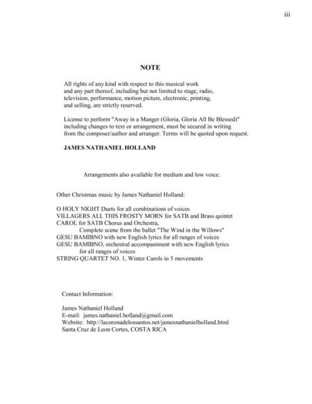 away in a manger (gloria, gloria all be blessed!) for soloist, satb choir  and orchestra by traditional and james nathaniel holland - digital sheet  music for - download & print s0.453103 |  sheet music plus
