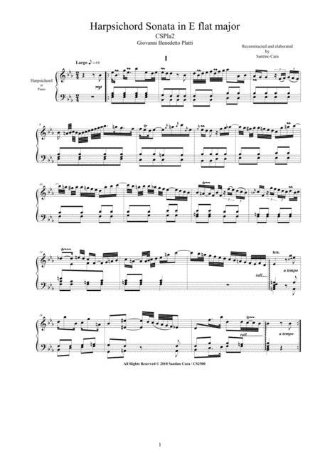 Platti - Harpsichord (or Piano) Sonata in E flat major CSPla2 - Complete score