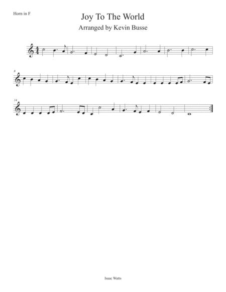 Joy To The World (Easy key of C) Horn in F