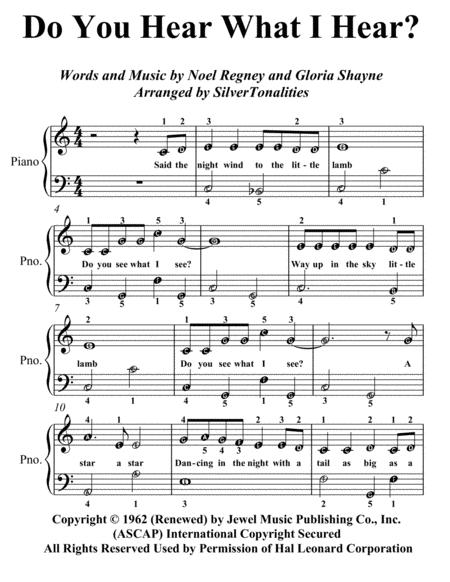 Do You Hear What I Hear Easiest Piano Sheet Music