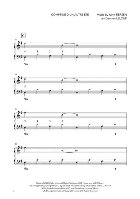 Preview Comptine Dun Autre Ete Easy Yann Tiersen By