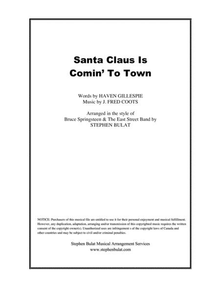 Santa Claus Is Comin' To Town (Bruce Springsteen) - Lead sheet + Rhythm chart (key of A)