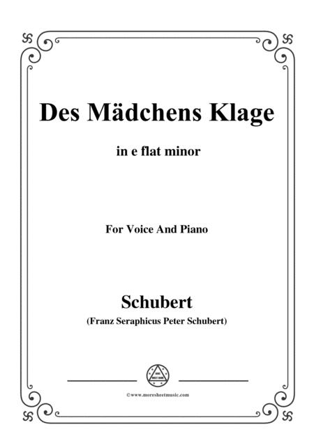 Schubert-Des Mädchens Klage,in e flat minor,Op.8,No.3,for Voice and Piano
