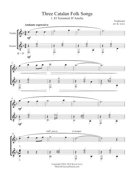 Three Catalan Folk Songs (Violin and Guitar) - Score and Parts