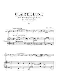 Download Clair De Lune For Violin And Piano (from Suite