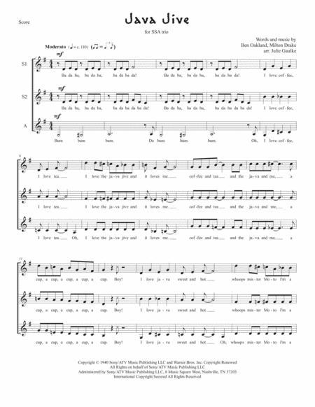 Java Jive for SSA trio a cappella