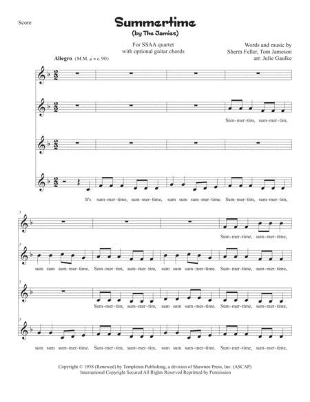 Summertime, Summertime for SSAA quartet plus optional chords
