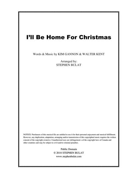 I'll Be Home For Christmas - Lead sheet (melody, lyrics & chords) in key of D