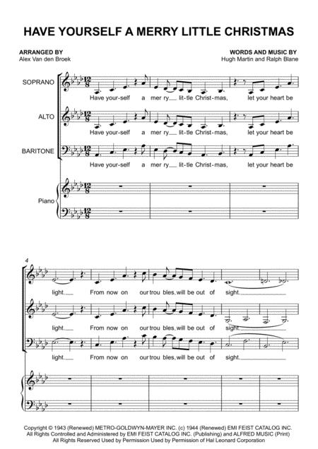 Have Yourself A Merry Little Christmas  from MEET ME IN ST. LOUIS - SAB with Piano Accompaniment