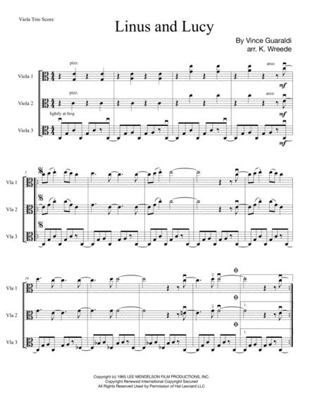 Linus And Lucy for Viola Trio