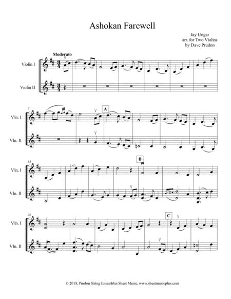 Download Ashokan Farewell For Two Violins Sheet Music By Jay