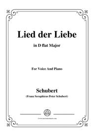 Schubert-Lied der Liebe,in D flat Major,for Voice and Piano