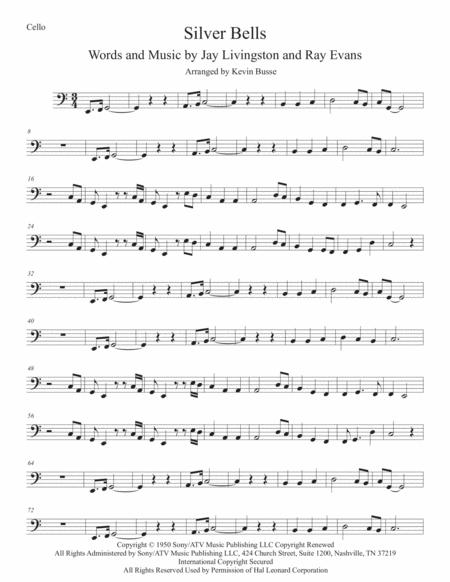 Silver Bells (Easy key of C) Cello