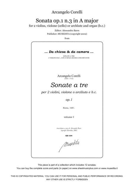 Corelli, Sonata op.1 n.3 in A major