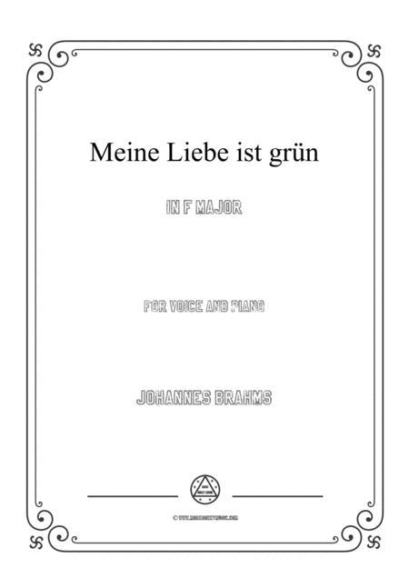 Brahms-Meine Liebe ist grün in F Major,for voice and piano