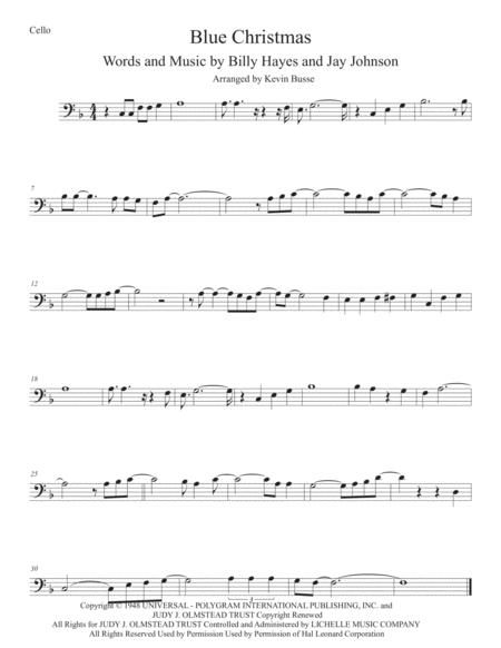 Blue Christmas Cello By Elvis Presley Digital Sheet Music For Individual Part Sheet Music Single Solo Part Download Print H0 467355 86700 Sheet Music Plus