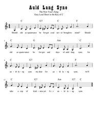 Auld Lang Syne Easy Lead Sheet in C Major