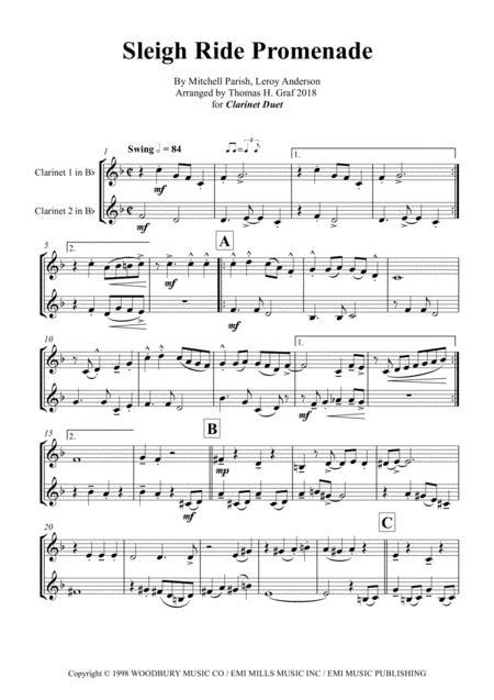 Sleigh Ride - Easy Swing - Clarinet Duet