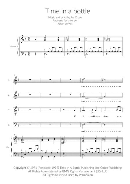 Time In A Bottle for SATB and Piano