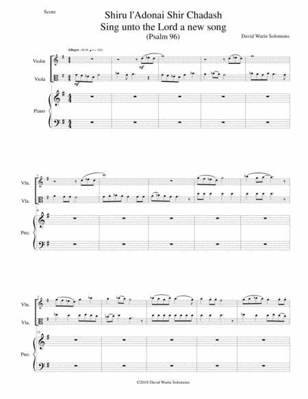 Shiru l'adonai shir chadash - O sing unto the LORD a new song - (Psalm 96) for violin, viola and piano