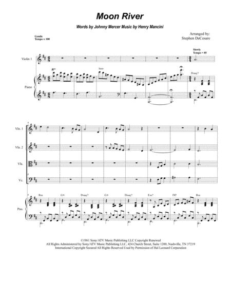Moon River (for String Quartet and Piano)