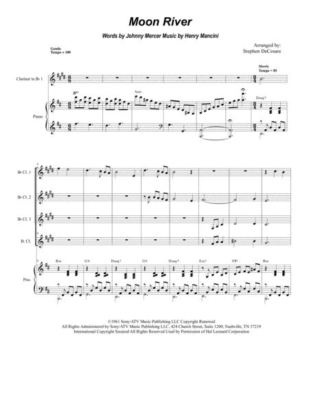 Moon River (for Clarinet Choir and Piano)