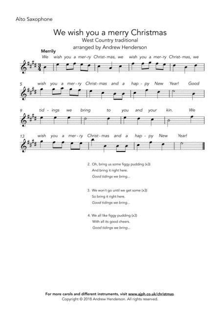 We wish you a merry Christmas (easy alto sax + easy piano)